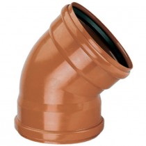 Polypipe 110mm Underground 45 Degree Double Socket Short Radius Bend - Terracotta
