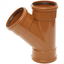 Polypipe 110mm Underground 45 Degree Triple Socket Equal Junction - Terracotta