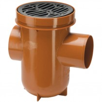 Polypipe 110mm Underground Back Inlet Bottle Gully With Plastic Grid - Terracotta