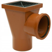 Polypipe 110mm Underground Back Inlet Square Hopper - Terracotta