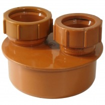 Polypipe 110mm Underground Double Mix Waste Pipe Adaptor (32mm and 40mm) - Terracotta