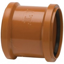 Polypipe 110mm Underground Double Socket Slip Coupler - Terracotta