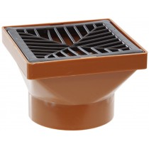 Polypipe 110mm Underground Square Hopper With Square Grid - Terracotta