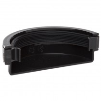 Polypipe 112mm Half Round Gutter Stop End (External) - Black