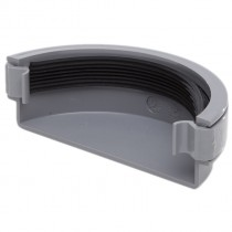 Polypipe 112mm Half Round Gutter Stop End (External) - Grey