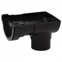 Polypipe 112mm Half Round Gutter Stop End Outlet - Black
