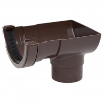 Polypipe 112mm Half Round Gutter Stop End Outlet - Brown