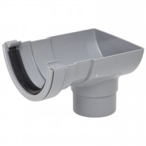 Polypipe 112mm Half Round Gutter Stop End Outlet - Grey