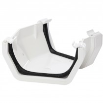 Polypipe 112mm Square Gutter 150 Degree Angle (Fabricated) - White