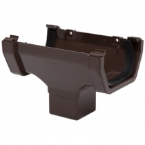 Polypipe 112mm Square Gutter Running Outlet - Brown
