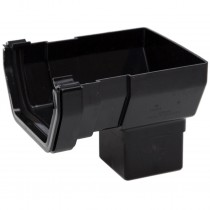 Polypipe 112mm Square Gutter Stop End Outlet - Black