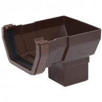 Polypipe 112mm Square Gutter Stop End Outlet - Brown