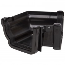 Polypipe 117mm Sovereign High Capacity Gutter 120 Degree Angle (External, Fabricated) - Black