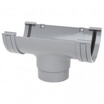 Polypipe 150mm Large Half Round Gutter Running Outlet - Grey