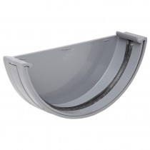 Polypipe 150mm Large Half Round Gutter Stop End (External) - Grey