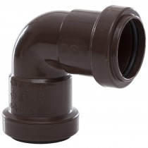 Polypipe 32mm Push Fit Waste 90 Degree Knuckle Bend - Brown
