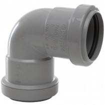 Polypipe 40mm Push Fit Waste 90 Degree Knuckle Bend - Grey