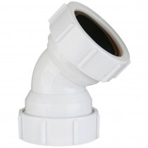 Polypipe 40mm Universal Compression Waste 45 Degree Obtuse Bend - White
