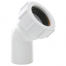 Polypipe 40mm Universal Compression Waste 45 Degree Swivel Bend - White