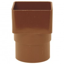 Polypipe 65mm Square to 68mm Round Down Pipe Adaptor - Oak Brown