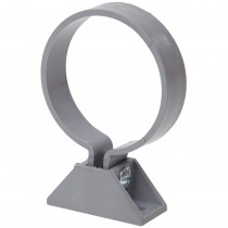 Polypipe 68mm Round Down Pipe Clip (with Nut, Bolt and Back Plate) - Grey