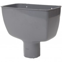 Polypipe 68mm Round Down Pipe Hopper Head - Grey