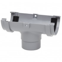 Polypipe 75mm Mini Half Round Gutter Running Outlet - Grey