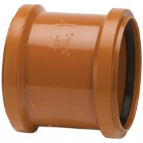 Polypipe 82mm Underground Double Socket Coupler - Terracotta