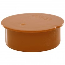 Polypipe 82mm Underground Plain Socket Plug - Terracotta