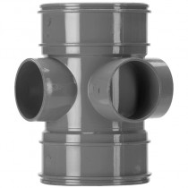 System 2000 110mm Solvent Soil 3 Way Double Socket Boss Pipe - Solvent Grey