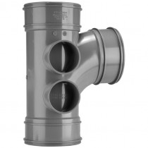 System 2000 110mm Solvent Soil 92.5 Degree Triple Socket Branch - Grey