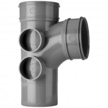 System 2000 110mm Solvent Soil Double Socket 92.5 Degree Branch with 4 Bosses - Solvent Grey