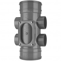 System 2000 110mm Solvent Soil Double Socket Access Pipe - Solvent Grey